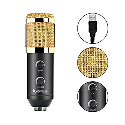Fifine USB Cardioid recording Condenser Microphone Plug & Play with desktop tripod mic stand + anti-wind foam by Fifine