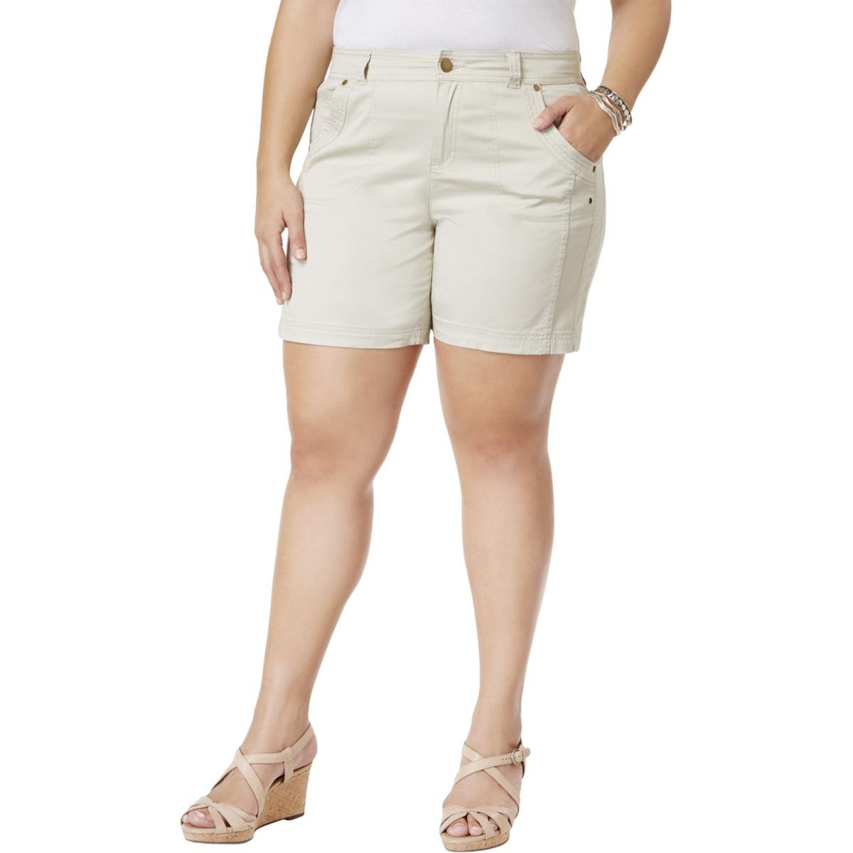 Style & Co. Womens Plus Mid-Rise Solid Casual Shorts Tan 18W by Style & Co.