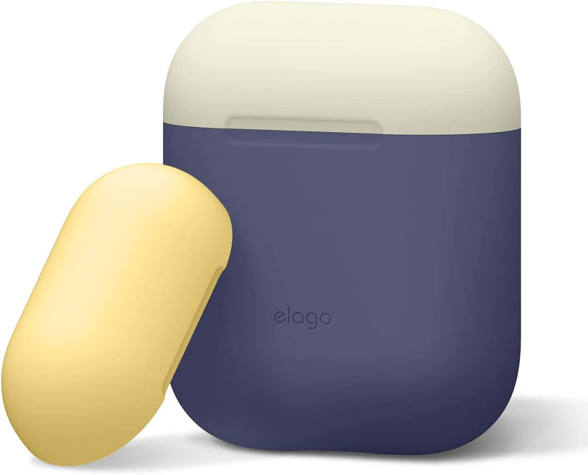 elago Duo Silicone Case Designed for Apple AirPods Case, 2 Caps + 1 Body [ Classic White, Yellow + Jean Indigo ]