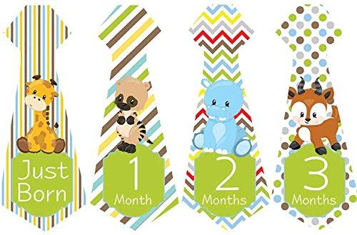 Belly Doodles 16 Necktie Monthly Baby Stickers Animals 6.6x2.5 Inch