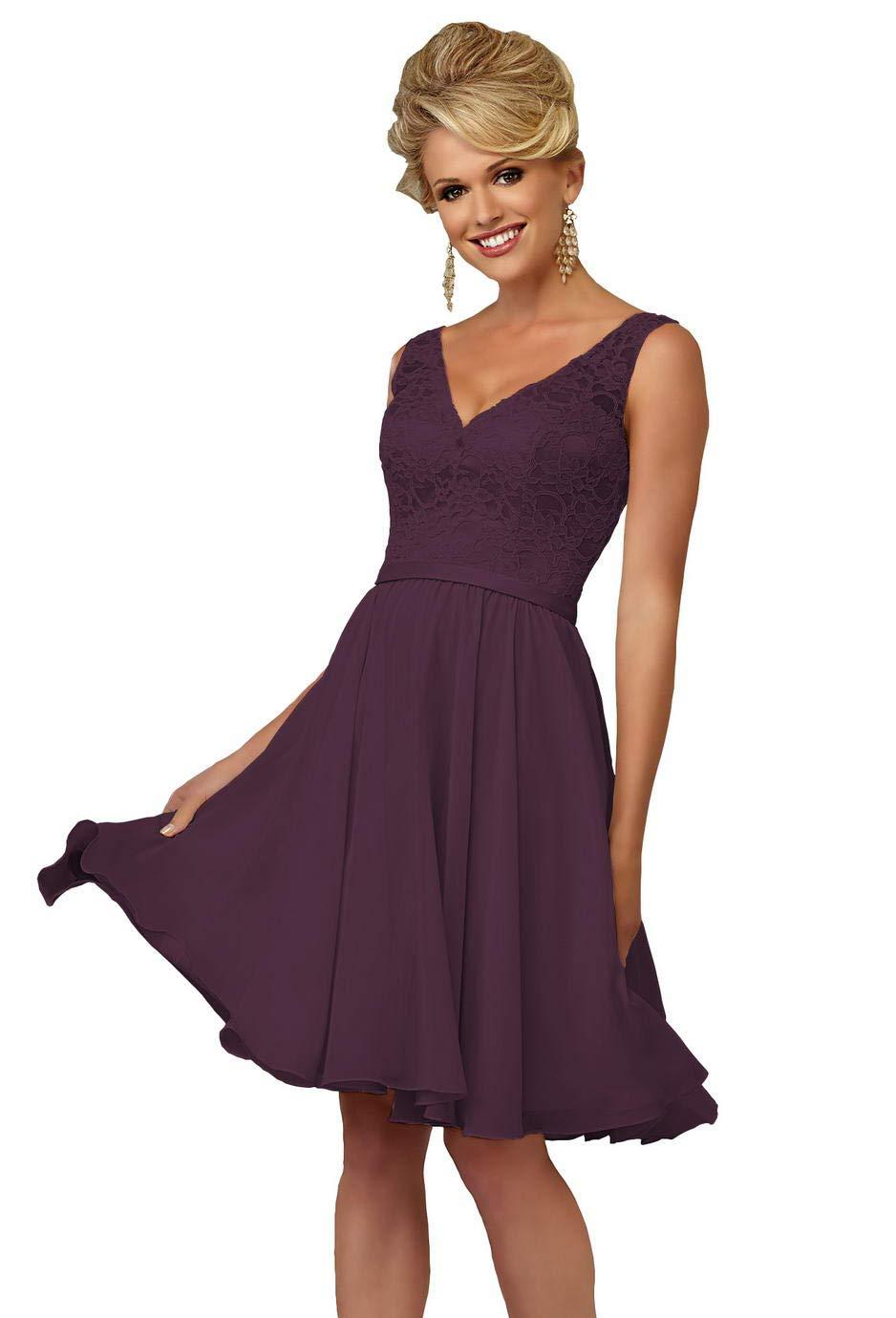 V-Neck A-line Knee Length Lace Plus Size Bridesmaid Dress Short Formal  Party Gown Size 18 Plum