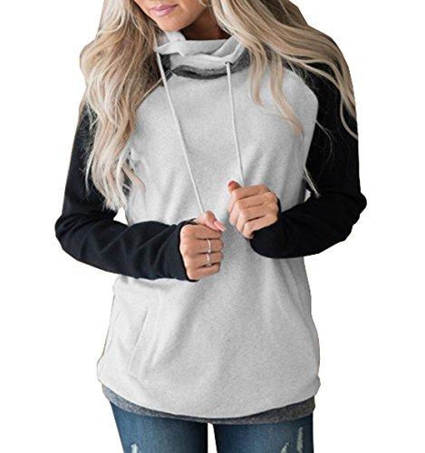 Cappuccio Moda Con Inverno Donne Sweatshirts Casual Hoodies Donna A Maniche Nero Cappotto Lunghe Cerniera Maglione Felpa Splicing Righe Autunno Colore wqpdf