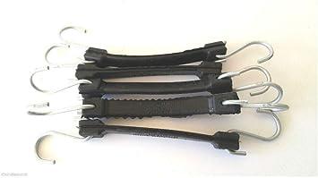"""2 Heavy Duty Rubber Bungee Cord Strap w Galvanized Hooks 12/"""" Black"""