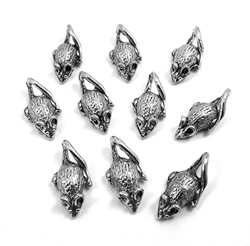 Set of Ten (10) Silver Tone Pewter Mouse/Rat Charms