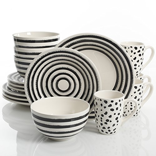 Laurie Gates Naivete 16 Piece Dinnerware Set, Black Stripes