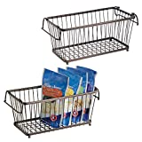 mDesign Household Stackable Wire Storage Organizer Bin Basket with Built-in Handles for Kitchen Cabinets, Pantry, Closets, Bedrooms, Bathrooms - 12