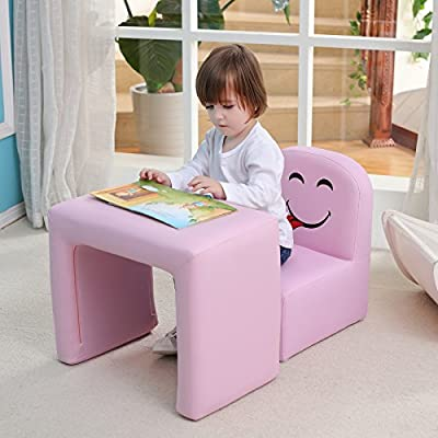 Multi-functional Children's Armchair Emall Life Kids Wooden Frame Chair and Table Set/Stool with Cartoon Smile Face Toddler Sofa