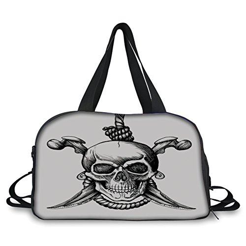 iPrint Travelling Bag,Pirate,Jolly Roger Skull with Two Knifes Bones and Hanging Rope Gothic Criminal Halloween Decorative,Black White Personalized