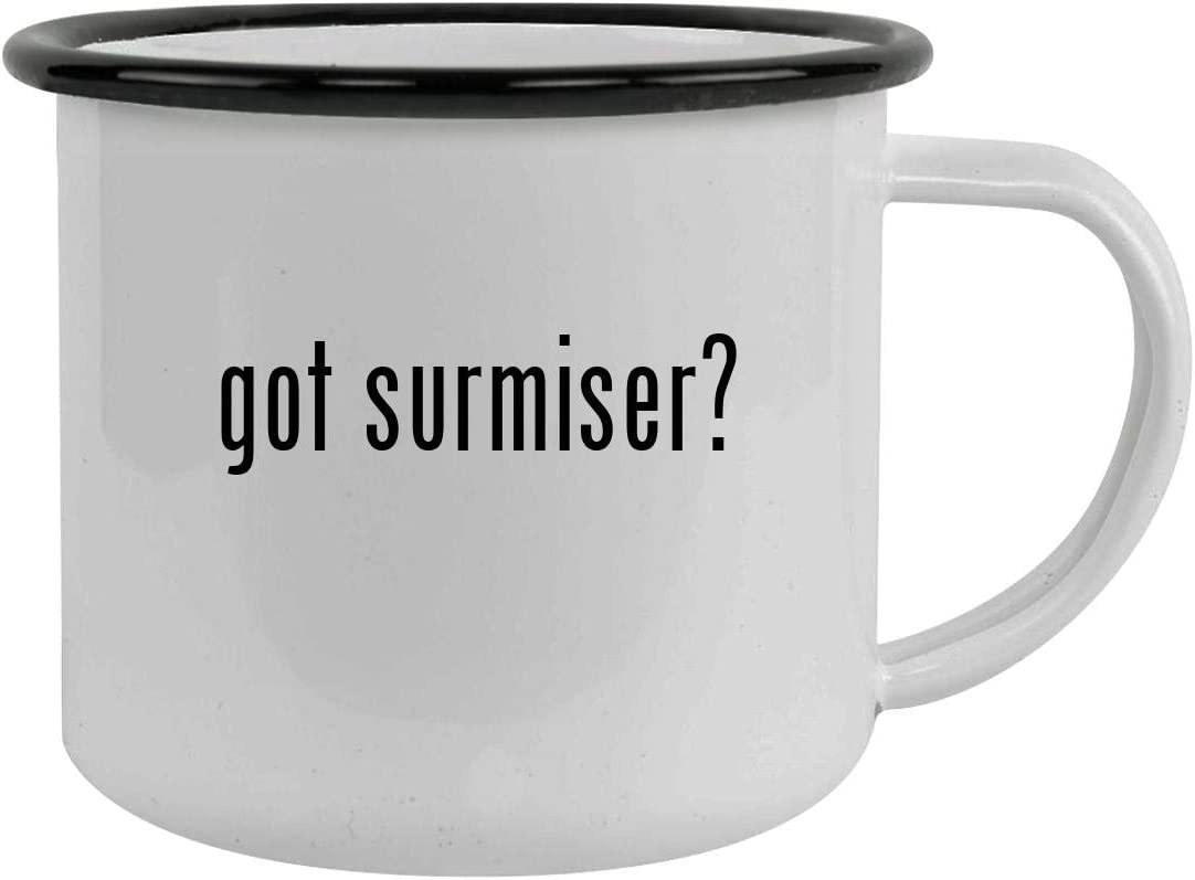 got surmiser? - Sturdy 12oz Stainless Steel Camping Mug, Black