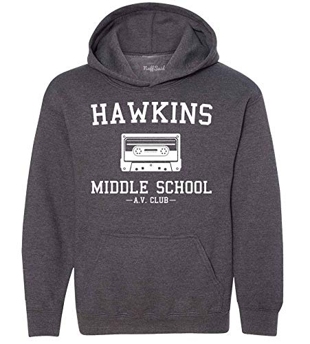 NuffSaid Youth Hawkins Middle School AV Club Hooded Sweatshirt - Stranger Kid's Hoodie (YL: 14-16, Dark Heather Grey)