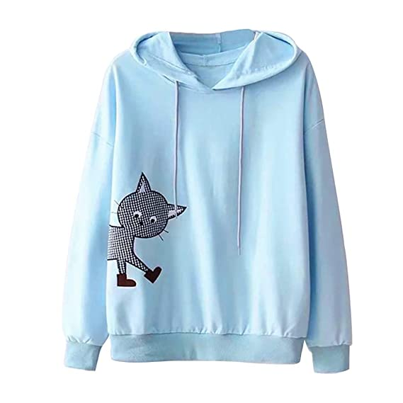 Suéter de Cuello Redondo para Mujer de Manga Larga de impresión del Gato Sudadera