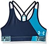 Under Armour Girls' HeatGear Armour Printed Sports Bra, Deceit (439)/Venetian Blue, Youth Medium
