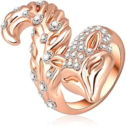 18K Rose Gold Plated with Austria Crystals Long Tail Fox Rings by Tidoo