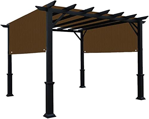 Alion Home Universal Pergola Replacement Canopy Shade Cover with Breathable HDPE Fabric Rod Pockets for 10 x 10 FT Pergola, Canopy Size 192 L x 106 W Mocha Brown