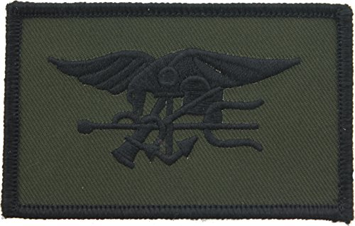 US Navy SEAL Team Patch Olive Drab/Black USN Seals Trident Embroidered Subdued (Seal Team Trident)