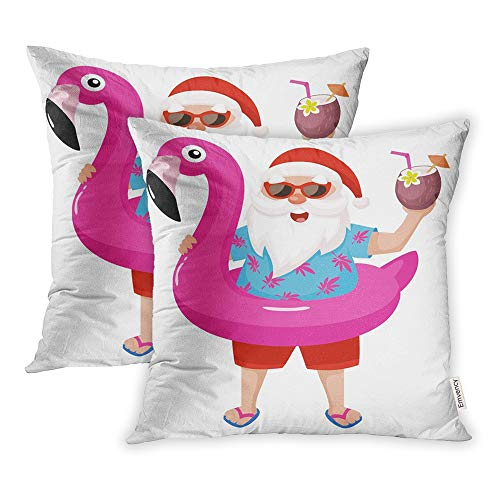 Emvency Set of 2 Decorative Throw Pillow Case Cushion Cover Pink Circle Santa Claus with Flamingo Inflatable Ring Tropical Christmas Cool 18x18 Inch Cases Square Pillowcases Covers Two Sides Print