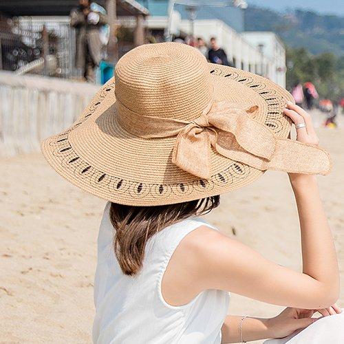 Hatrita-J Beach Beach Embroidered Straw Hat Large Brimmed Hat Foldable Sun Hat Sun Protection Tour Summer Female Donkey Sun Hat - Purple Hat Donkey