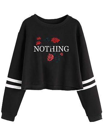 Rayé Rose Sweatshirt Fille Ado Pull Court Sweat Femme Automne Sport ZwxHSYq7x