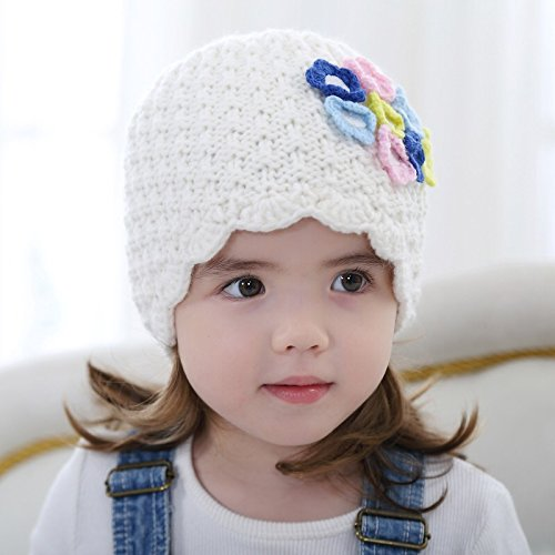 Girls fashion flower knitted lace trim princess beanie hats children casual cotton - Face Shape Finding