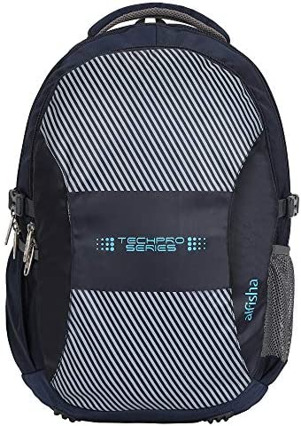 Alfisha Techpro Series 38L Large Laptop Backpack with 3 Compartments Navy Blue Polyester 17.5 Inch