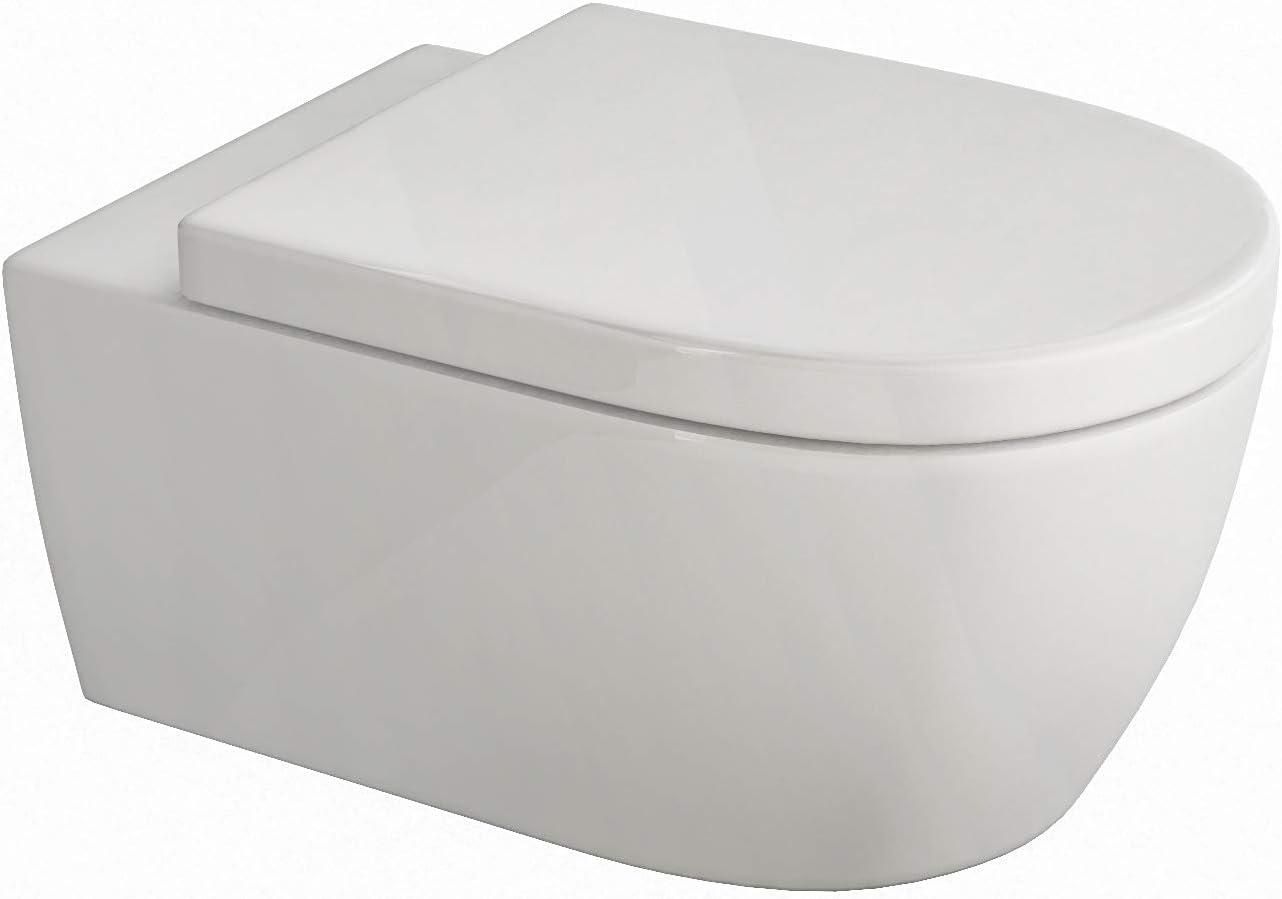 Spülrandloses Wand Hänge WC Spülrandlos Toilette softclose WC-Sitz abnehmbar NEU