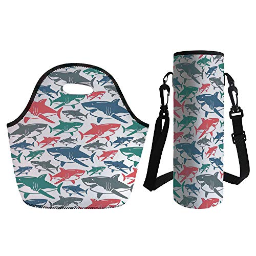 3D Print Neoprene lunch Bag with Kit Neoprene Bottle Cover,Sea Animal Decor,Mix of Colorful Bull Shark Family Pattern Masters of Survival Kids Nursery,Multi,for Adults Kids
