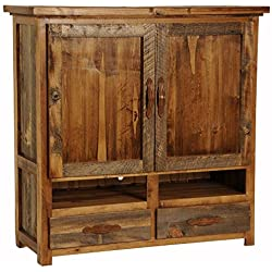 2 Drawer Rustic Wood TV Armoire (Contoured Aspen)