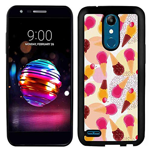 LG K10 2017 Soft Phone Case (5.3 Version) Ice Cream Sweet Taste of Summer Theme Chocolate and Fruity Flavor Cherries Circle Sprinkles Multicolor