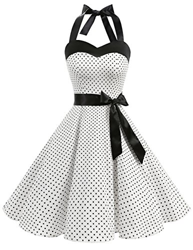 DRESSTELLS 50s Retro Halter Rockabilly Polka Dots Audrey Dress Cocktail Dress White Small Black Dot ()