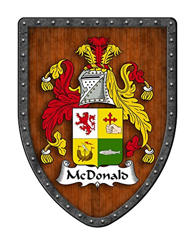 McDonald Family Crest Custom Coat of Arms , Family Ancestry and Heritage Hanging Metal Shield - Hand Made in the USA
