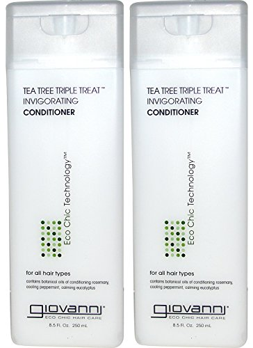 Giovanni Invigorating Conditioner Organic Tea Tree Triple Threat with Aloe Vera, Lavender, Rosemary and Sage, for All Hair Types, 8.5 Fl. Oz.
