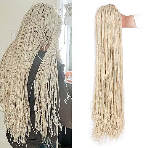Box Braids Crochet Hair 10Packs 28 Inch ZiZi Braids Micro Crochet Box Braid Hair Weave Braid 613 Blonde Color 28 Strands/Pack Long Synthetic Hand Crochet Braids for Women (613#)