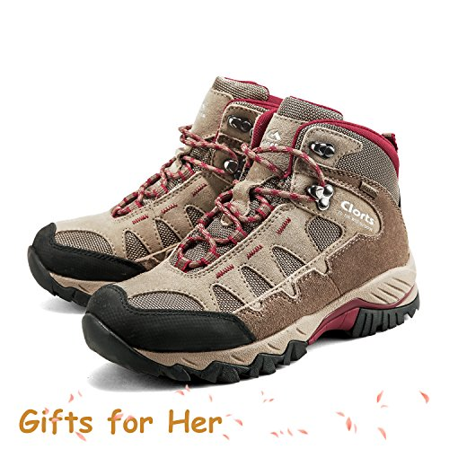 Outdoor Leather Hiking Hiker Womens Waterproof Backpacking Boot Shoe Clorts Khaki HKM823 d4Yx4