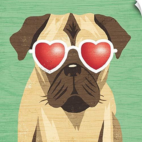 CANVAS ON DEMAND Beach Bums Pug I Wall Peel Art Print, 35