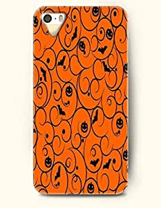 SevenArc iPhone 5 5s Case - All Hallows' Eve Black Pumpkin Lantern And Bat In Orange Background