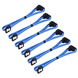 eBoot 6 Pack 18 Inch SATA III 6.0 Gbps Cable with Locking Latch and 90-Degree Plug, Blue