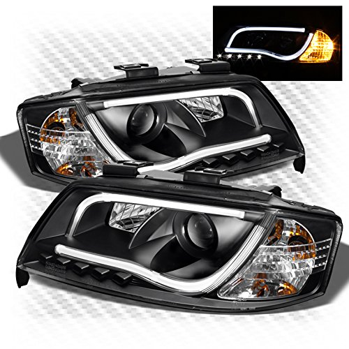 Xtune 1998-2001 A6 Black Light-Tube-DRL LED Projector Headlights Front Lamps Upgrade Pair Left+Right 1999 2000