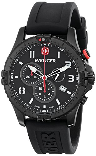 Wenger Men's 77053 Squadron Black Ion-Plated Stainless Steel Watch with Black Rubber (Chrono Black Dial Rubber Band)
