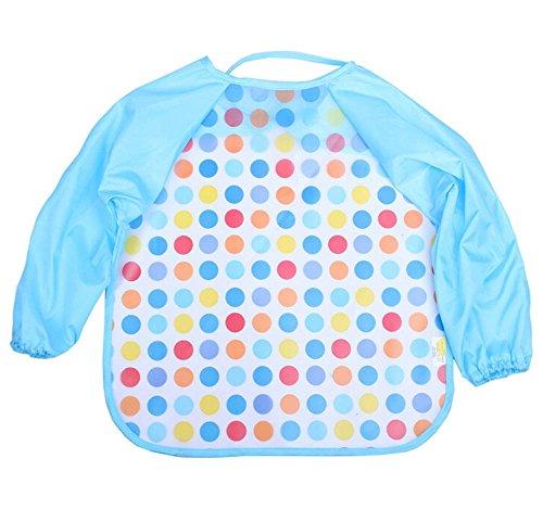 [Colorful Polka Dots] Set of 2 Toddler Baby Waterproof Sleeved Bibs, 1-5 Years