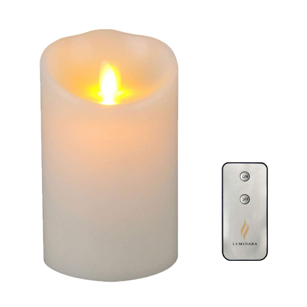 Remote Included 3.5'' x 5'' Wax Luminara Flameless Moving Wick Candle with Timer, Ivory