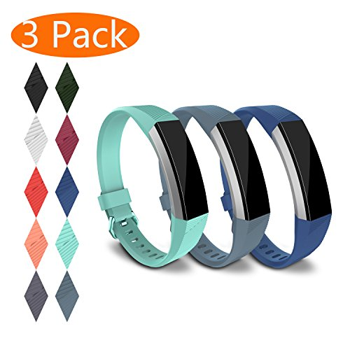 KingAcc Fitbit Alta HR Bands, Fitbit Alta Bands, Silicone Replacement Band for Fitbit Alta HR, Fitbit Alta, With Metal Buckle Wristband Strap Women Men (3-Pack, DarkBlue&RockBlue&TealBlue, (3 Pack Wristband)