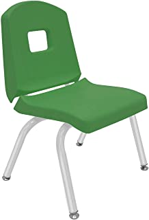 """product image for Creative Colors 1-Pack 12"""" Kids Preschool Stackable Split Bucket Chair in Dustin Green with Platinum Silver Frame and Self Leveling Nickel Glide"""