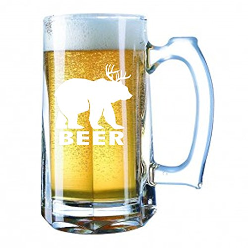 Giant Beer Mug 28 Ounces Personalized Beer Stein - Beer Deer Bear Sunny Mac Funny TV Pong - Miller Mac Glasses