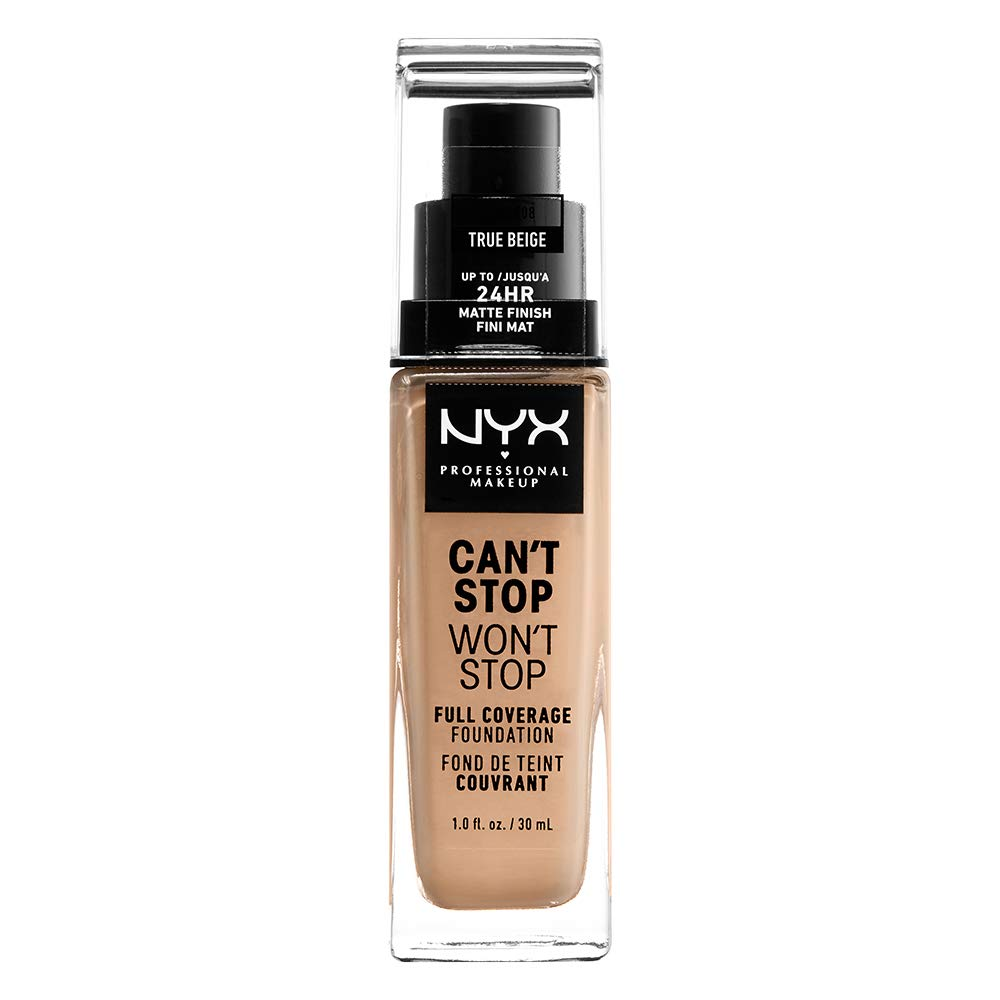 NYX PROFESSIONAL MAKEUP Can't Stop Won't Stop Full Coverage Foundation Makeup, True Beige, 1 Ounce