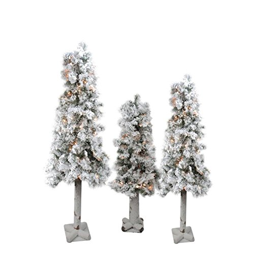 Set of 3 Pre-Lit Flocked Woodland Alpine Artificial Christmas Trees 3', 4' and 5' - Clear - Flocked Pre Christmas Lit Tree
