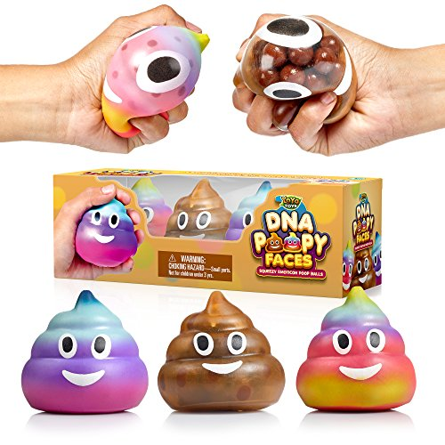 YoYa Toys Poop Emoji DNA Stress Ball [3-Pack] | Squeezing, Anxiety Relief Ball for Kids & Adults | Squishy Toys for Autism, Fidgeting, ADHD, Quitting Bad Habits & More | ()