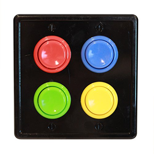 Arcade Light Switch Plate Cover, (Black/Red,Blue,Green,Yellow) Double Switch, 2-Gang Standard Size Rocker Wall Plate, Game Room Decorator, Kid Bedroom Wallplate, Faceplate Replacement