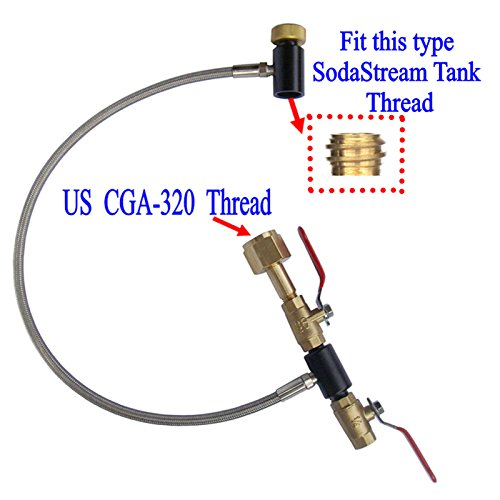 New Soda Club High Pressure Hose CO2 Fill Station For Filling Soda Tank (2 valve,24'' Stainless Steel Braided Hose) by GFSP Outdoor Sports (Image #1)