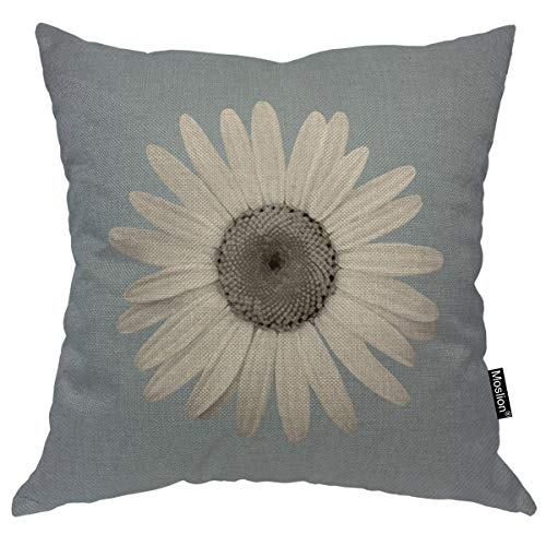 Moslion Throw Pillow Cover Floral 18x18 Inch Handmade Petal Blossom White Gray Blue Square Pillow Case Cushion Cover for Home Car Decorative Cotton Linen