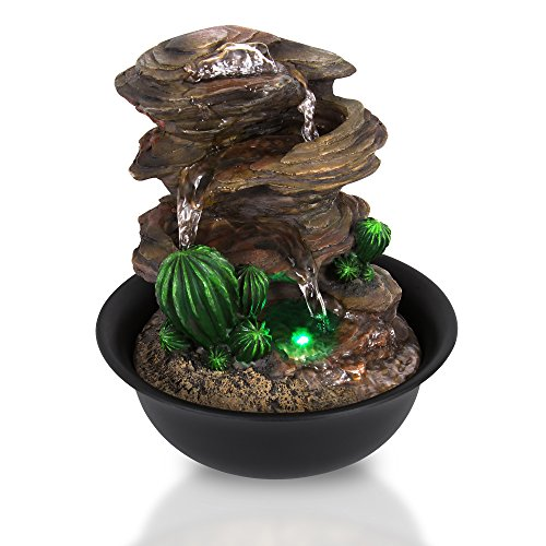 Electric Meditation Water Fountain Decor - 3-Tier Cool Portable Desktop Tabletop Decorative Indoor Outdoor Zen Waterfall Decoration w/ LED, Submersible Pump and Power Adapter - SereneLife AZSLTWF63LED by SereneLife Relax